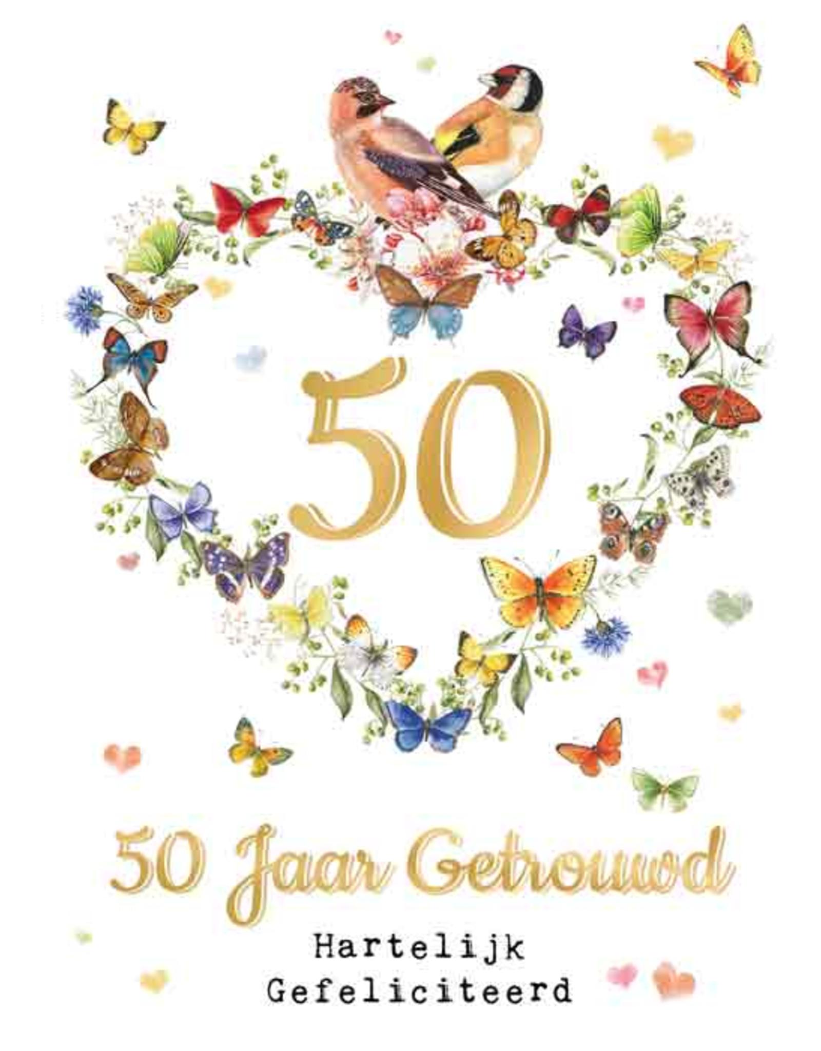 Wenskaart  50 Jaar Getrouwd Hartelijk Gefeliciteerd -  Janneke Brinkman