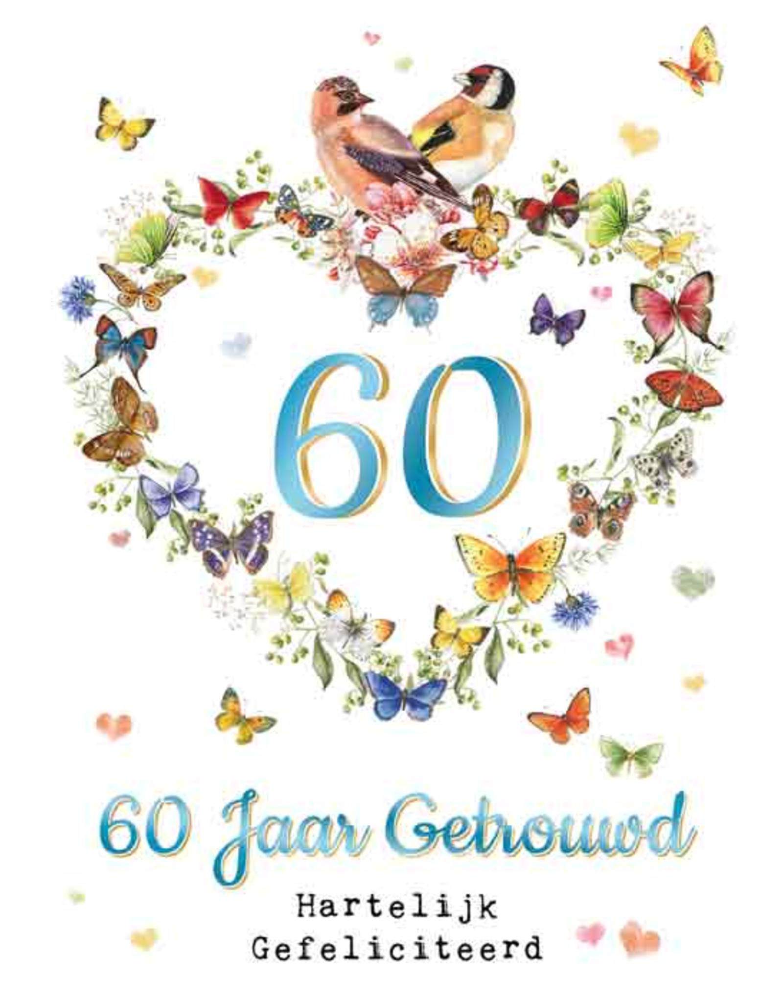 Spiksplinternieuw Wenskaart 60 Jaar Getrouwd Hartelijk Gefeliciteerd - Janneke DY-41