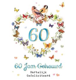 Wenskaart  60 Jaar Getrouwd Hartelijk Gefeliciteerd -  Janneke Brinkman