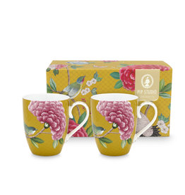 Pip Studio Set van 2 grote Mokken Blushing Birds geel 350ml - Pip Studio