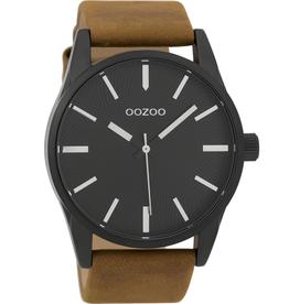 OOZOO Horloge C9627 bruin / zwart 45mm - OOZOO