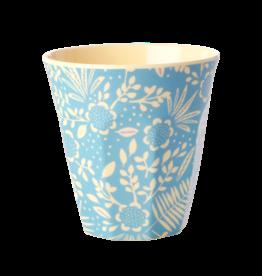Rice Beker Melamine met blauwe Varen en Bloemen print - Rice