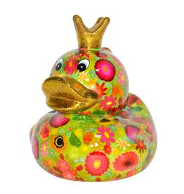 """Pomme-Pidou Spaarpot Eend """"Ducky"""" M groen met bloemen - Pomme-Pidou"""