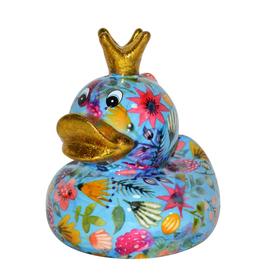 """Pomme-Pidou Spaarpot Eend """"Ducky"""" M blauw met bloemen - Pomme-Pidou"""