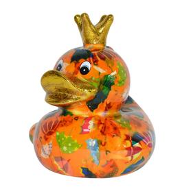 """Pomme-Pidou Spaarpot Eend """"Ducky"""" M oranje met paraplu's - Pomme-Pidou"""