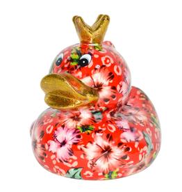 """Pomme-Pidou Spaarpot Eend """"Ducky"""" M rood met bloemen - Pomme-Pidou"""