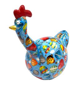 """Pomme-Pidou Spaarpot Kip """"Gregory"""" M blauw met luchtballonnen - Pomme-Pidou"""