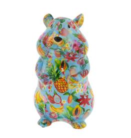 "Pomme-Pidou Spaarpot Hamster ""Finn"" M blauw met vruchten - Pomme-Pidou"