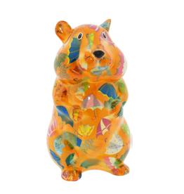 "Pomme-Pidou Spaarpot Hamster ""Finn"" M oranje met paraplu's - Pomme-Pidou"