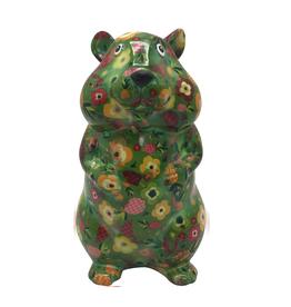"""Pomme-Pidou Spaarpot Hamster """"Finn"""" M groen met bloemen - Pomme-Pidou"""