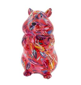 "Pomme-Pidou Spaarpot Hamster ""Finn"" M rood met veren - Pomme-Pidou"