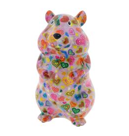 """Pomme-Pidou Spaarpot Hamster """"Finn"""" M roze met hartje - Pomme-Pidou"""