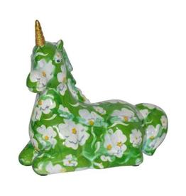 """Pomme-Pidou Spaarpot Eenhoorn """"Annabel"""" M groen met witte bloemen - Pomme-Pidou"""