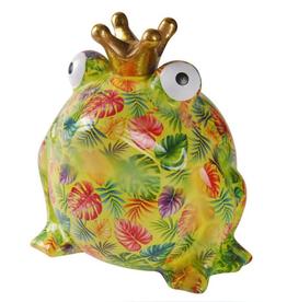 "Pomme-Pidou Spaarpot Kikker ""Freddy"" L groen/geel met palmbladeren - Pomme-Pidou"