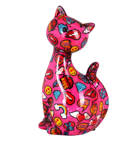 """Pomme-Pidou Spaarpot Kat  """"Caramel"""" L roze multicolor - Pomme-Pidou"""