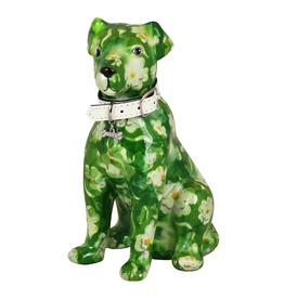 """Pomme-Pidou Spaarpot Hond """"Mylo"""" M groen met witte bloemen - Pomme-Pidou"""