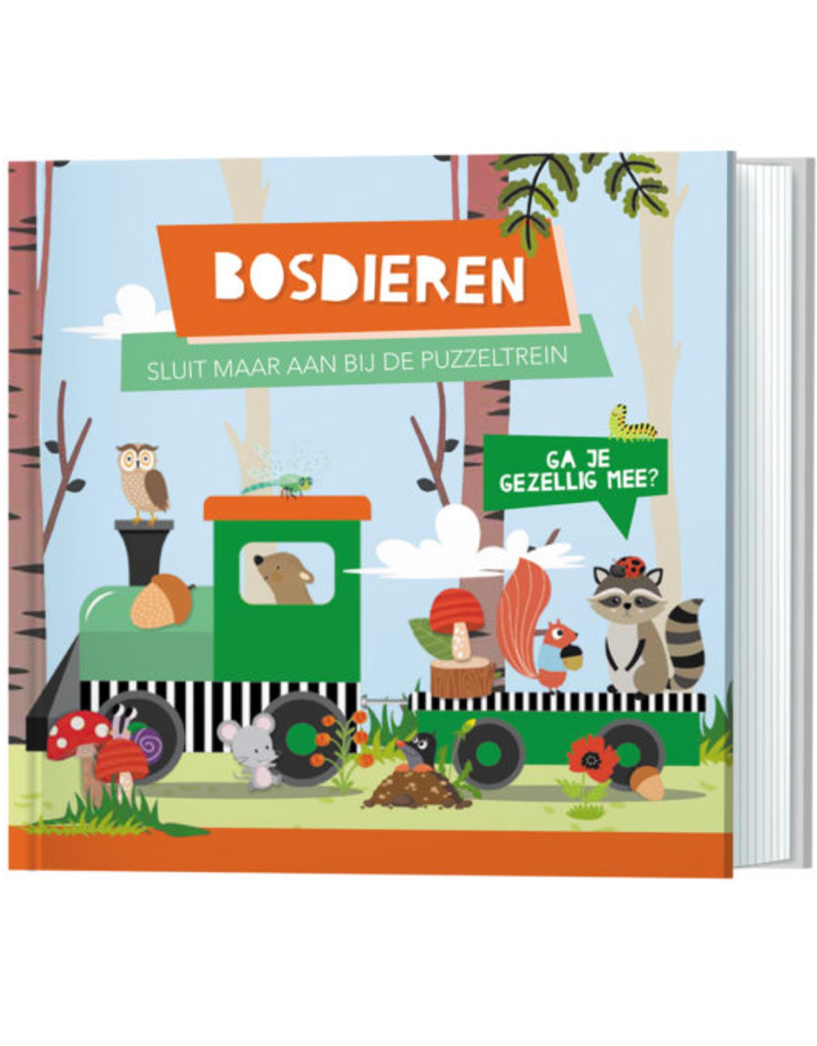 Boek en Puzzeltrein Bosdieren +3jr - Lantaarn Publishers