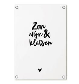 Zoedt Tuinposter met tekst 'Zon, wijn & kletsen' - Zoedt