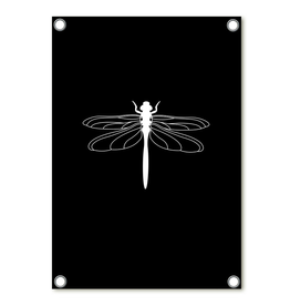 Zoedt Tuinposter zwart met witte libelle - Zoedt