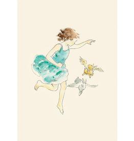 Girl and Flying Rabbit (Blanco) - Roger la Borde
