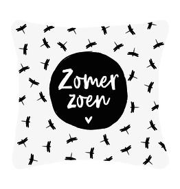 """Zoedt Buitenkussen met tekst """"Zomer Zoen"""" en Patroon - Zoedt"""