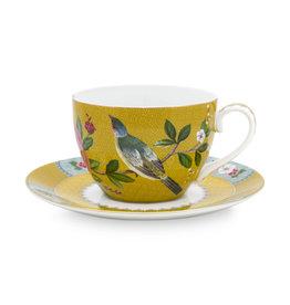 Pip Studio Cappuccino Kop & Schotel Blushing Birds geel 280ml - Pip Studio
