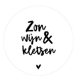 """Zoedt Muurcirkel met tekst """"Zon wijn en Kletsen"""" 30x30cm - Zoedt"""