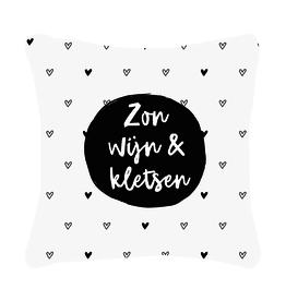 """Zoedt Buitenkussen met tekst """"Zon, wijn & Kletsen"""" en hartjes patroon - Zoedt"""