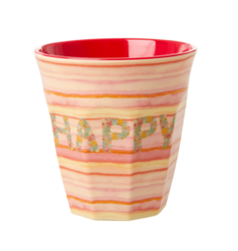Rice Beker Melamine met Happy Pink print - Rice