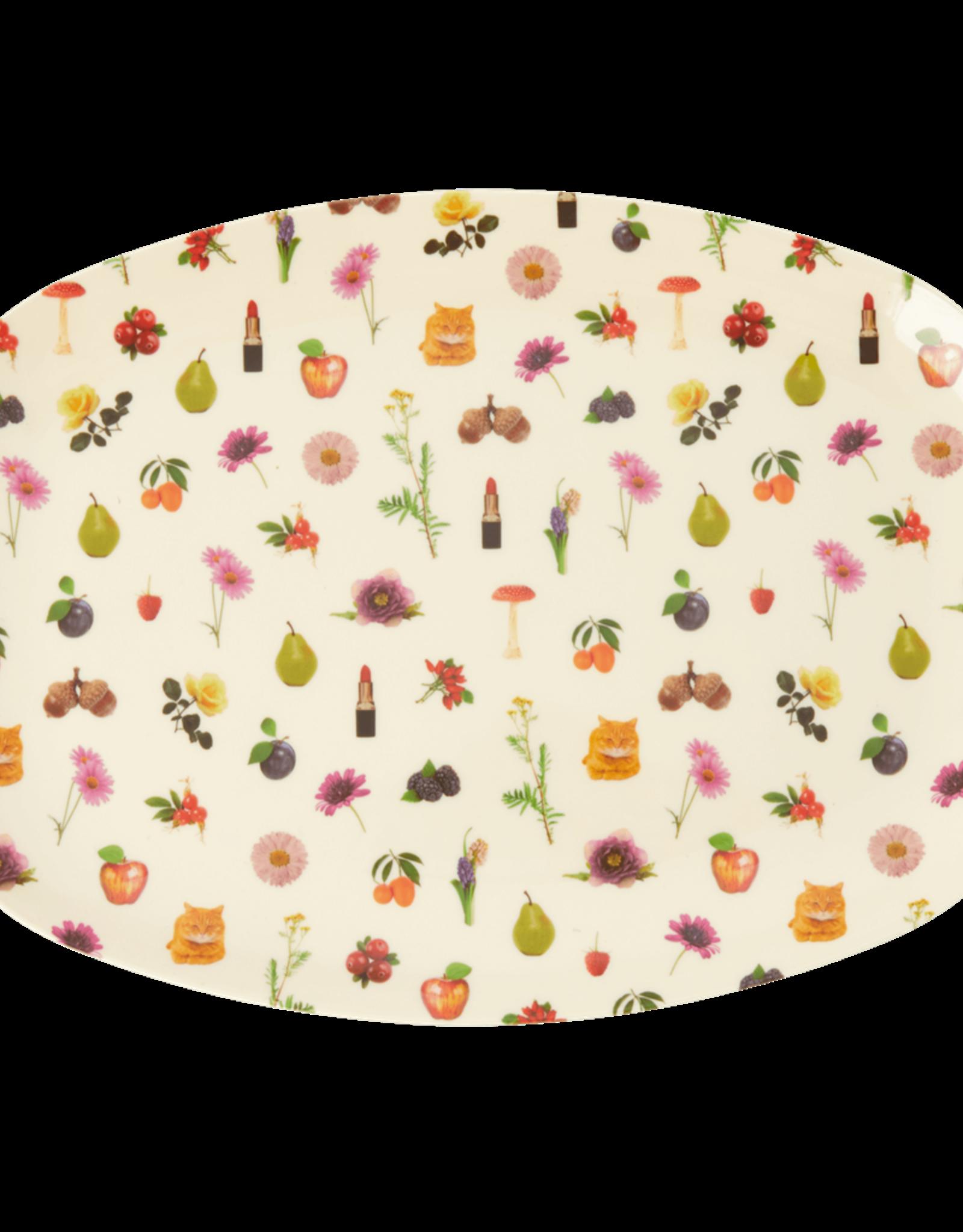 Rice Bord ovaal Melamine met Lipstick Fall Print - Rice