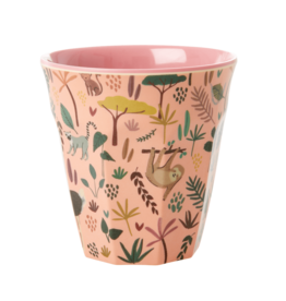 Rice Beker Melamine met Jungle print coral - Rice