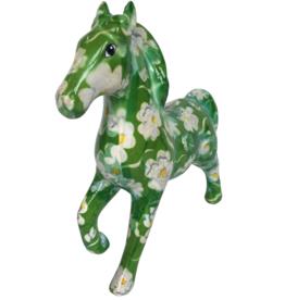 """Pomme-Pidou Spaarpot Paard """"Lucky"""" groen met witte bloemen - Pomme-Pidou"""