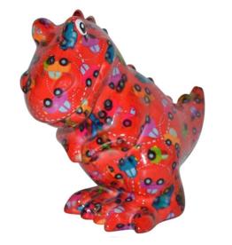 "Pomme-Pidou Spaarpot T-Rex ""Tito"" rood met auto's - Pomme Pidou"