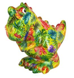 """Pomme-Pidou Spaarpot T-Rex """"Tito"""" groen met palmbladeren - Pomme Pidou"""