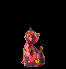 """Pomme-Pidou Spaarpot Kat """"Caramel"""" S rood met hartjes - Pomme-Pidou"""