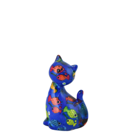 """Pomme-Pidou Spaarpot Kat """"Caramel"""" S blauw met vissen - Pomme-Pidou"""