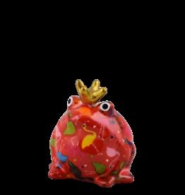 """Pomme-Pidou Spaarpot Kikker """"Freddy"""" S rood met flamingo's - Pomme-Pidou"""