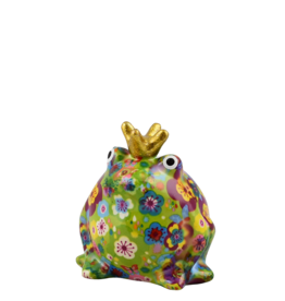 "Pomme-Pidou Spaarpot Kikker ""Freddy"" S groen met bloemen - Pomme-Pidou"