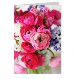 Wenskaart Blanco Roze Bloemen - Casa Collection