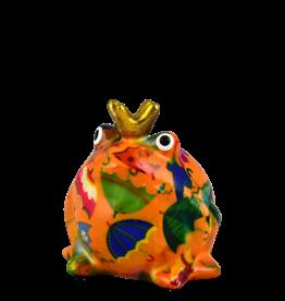"""Pomme-Pidou Spaarpot Kikker """"Freddy"""" S oranje met paraplu's - Pomme-Pidou"""