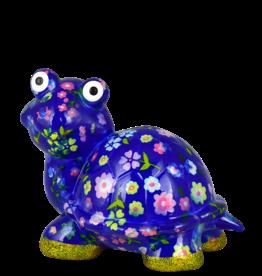 """Pomme-Pidou Spaarpot Schildpad """"Zeppy"""" M blauw met bloemen - Pomme-Pidou"""