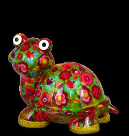 """Pomme-Pidou Spaarpot Schildpad """"Zeppy"""" M groen met bloemen - Pomme-Pidou"""