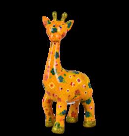 """Pomme-Pidou Spaarpot Giraffe """"Celeste"""" M oranje met bloemmetjes - Pomme-Pidou"""