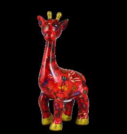 "Pomme-Pidou Spaarpot Giraffe ""Celeste"" M rood met circus print - Pomme-Pidou"