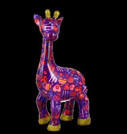 "Pomme-Pidou Spaarpot Giraffe ""Celeste"" M paars met hartjes - Pomme-Pidou"