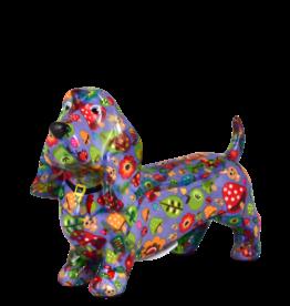 "Pomme-Pidou Spaarpot Hond ""Bruce"" M blauw met paddestoelen - Pomme-Pidou"