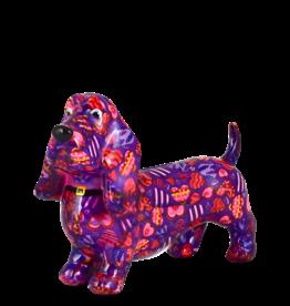 """Pomme-Pidou Spaarpot Hond """"Bruce"""" M paars met hartjes - Pomme-Pidou"""
