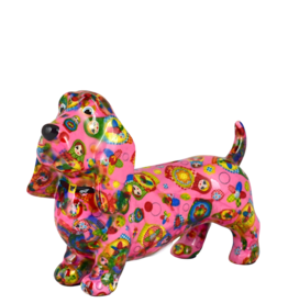 "Pomme-Pidou Spaarpot Hond ""Bruce"" M roze met matroesjka's - Pomme-Pidou"