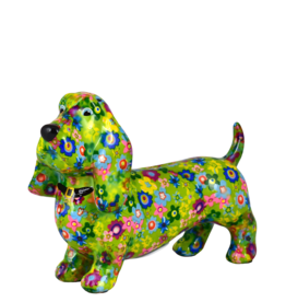 """Pomme-Pidou Spaarpot Hond """"Bruce"""" M groen met bloemen - Pomme-Pidou"""