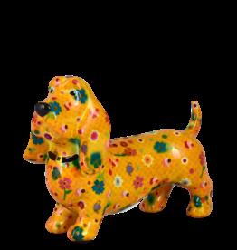 """Pomme-Pidou Spaarpot Hond """"Bruce"""" M oranje met bloemen - Pomme-Pidou"""